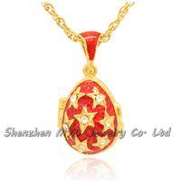 Женская мода ювелирные изделия выводы Кристалл звезда Фаберже яйцо кулон медальон ожерелье ручной работы эмалированные с золотым напылением