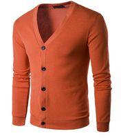 Толстовка свитер мужчин сплошной цвет V шеи однобортный сплошного цвета с длинным рукавом Кардиган Краткий Стиль Стильная Англия 2017 Мода Горячие