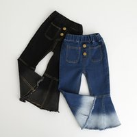 Spring New Baby Girl Jeans Retro Boot Cut Denim Pants Long T...