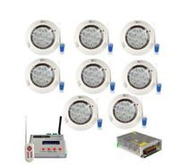 8pcs 동기식 RGB 수영 LED 풀 빛 36W DMX512 수 중 조명 전구 벽 마운트 램프 + 1pc DMX 컨트롤러 + 1pc 전원 공급 장치