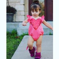 맑은 재고! 아기 소녀 스팽글 심장 rompers 패션 유아 유아 소녀 SleevevessTriangle Onesie는 환불되지 않습니다!