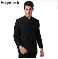 Männer Anzug Sets Chinesische Tunika Anzüge Stehkragen Klassische Anzug Blazer Marke Design Business Formale Männlichen Baumwolle Anzug Sets Y04