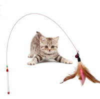 Funny Cat / Chaton Pet Teaser Feather Wire Chaser Pet Toy Baguette Perles Jouer NOUVEAU G855