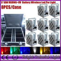 (8lights+ 1 fly case lot) RGBWA+ UV 6 in 1 led battery operate...