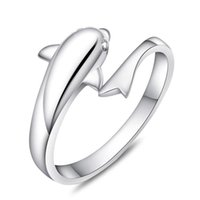 Free shipping simple cute 3D dolphin single ring open design...
