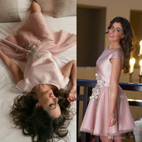 Skin Pink Short Homecoming Dresses Capped Sleeves Satin Open...