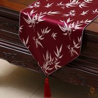 Extra lang 120 inch bamboe jacquard tafel runner luxe high-end zijde brocade eettafel doek bruiloft kerstfeest decoratie 300x33cm