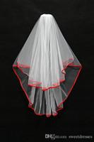 Disponibles Two Capa Boda Velas nupciales Blanco / Rojo / Negro Borde de cinta con velo de peine Stock Envío libre Accesorios de boda
