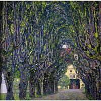 Hochwertige handgefertigte Gustav Klimt Ölgemälde Reproduktion BAUM LINED ROAD FÜHREN ZUM MANOR HOUSE AT KAMMER OBERÖSTERREICH für Schlafzimmer