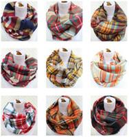 2018 Neueste Mode Nachahmung Kaschmir Plaid Infinity Schal / Loop Schal Frauen Schal Warme Weiche Winter Tartan Schal