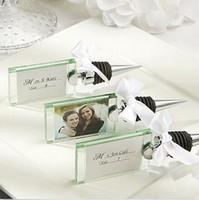 100st Crystal Photo Frame Bottle Stoppar Bröllop Favoriter och gåvor Vinproppar Bröllop Tillbehör Party Gäster Presentförpackning Giveaways