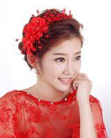 Düğün Gelin Nedime El Yapımı Kırmızı Yaylar İnciler Elmas Çiçekler Hairbands Turizm Tatil Tiaras Çelenk Headdress Saç Aksesuarları 2018