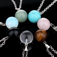 بسيط الحجر الطبيعي الأصلي جولة الكرة قلادة القلائد مجوهرات مع سلاسل الفضة مطلي للنساء الرجال