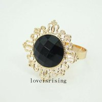 22 färger pick-100pcs / lot svart pärla servett ringar vintage stil guldton metall ringar bröllop dekor servetthållare