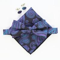 الرجال ربطة دعوى مجموعة الأزهار بيزلي مخطط الحرير الجاكار المنسوجة الرجال فراشة القوس التعادل ربطة الجيب ساحة منديل المنديل دعوى مجموعة