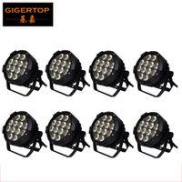 할인 가격 8 단위 12x18W 방수 LED 동위 빛 6in1 RGBWA 퍼플 DMX512 디스코 파티 클럽 펍 쇼 무대 웨딩 야외