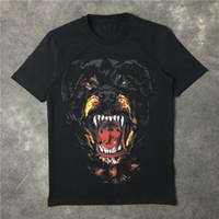 Sommer brandneue Männer Sommermode Luxus T-Shirts Rottweiler Hundedruck Baumwolle Tees schwarzen kurzen Ärmeln Tops