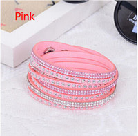 17 colors Hot sell Wholesale Rhinestone Bling Double Leather...