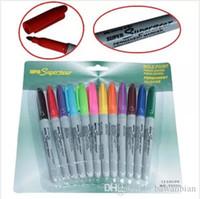 Permier 12 couleurs Tattoo Pen Maquillage permanent Marqueur Stencil peau Scribe Piercing outil Livraison gratuite