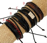 Braccialetto di cuoio genuino a più strati genuino del tessuto dell'involucro del tessuto fatto a mano con i monili di modo della corda intrecciata