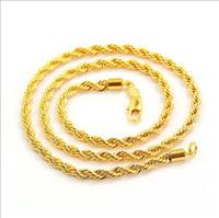 Rápido Frete grátis simples moda, modelos de explosão de colar de ouro 18 K dos homens 23.6 corda torcida atado link cadeia de jóias