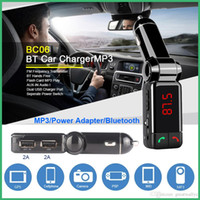 BC06 Bluetooth Car Kit Car Speakerphone BT Manos libres Dual FM Transmitter Puerto 5V 2A AUX-IN Reproductor de música para Samsung iPhone Mobile