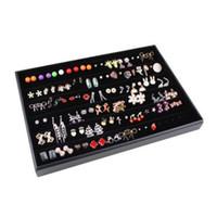 الشحن مجانا أزياء المبيعات الساخنة 120 ثقوب حلق مجوهرات أقراط المنظم عرض صينية حالة صندوق حامل التخزين