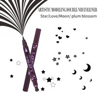 Горячая новая двойная головка Embellish Eyeliner Fashion Black Waterproof Liquid Eyeliner Pencil Maquillaje Star Heart Moon Flower Stamp Eyeliner