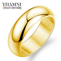Yhamni الأصلي الفاخرة الخالصة الذهب خواتم الزفاف خواتم الزفاف للنساء الأزواج الفولاذ المقاوم للصدأ الذهب اللون سحر خواتم JZR050