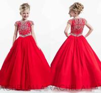 Glitz 2019 새로운 Rachell Allan 붉은 작은 아이 소녀의 미사트 드레스 짧은 소매 공 가운 유아 작은 아이 크리스탈 꽃 여자 드레스