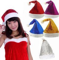 Weihnachten Pailletten Sheen Santa Hut Kinder Kinder Männer Frauen Festliche Kostüme Kappe Dress up Requisiten Party Zubehör Supplies 5colors