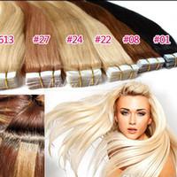 Бразильская лента в наращиваниях для волос кожи Утки прямые человеческие девственные наращивания волос расслоения 2,5 г / шт, 40 шт. DHL бесплатная доставка Bella волос