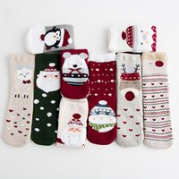 TA003 New Cute Elk Pattern Women Girl Cotton Crew Socks Chri...