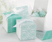 (100 pçs / lote) Caixas de envoltório de damasco reversíveis da população Aqua damasco caixas para sacos de favor de doces e festa caixa de favor e caixa de presente de decoração de festa