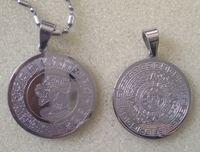 Pendente maya della moneta dell'acciaio inossidabile di modo del Messico americano 316L, pendente maya del metallo del calendario azteco della moneta di profezia commemorativa, catena libera