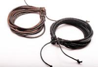 300pcs mode multilayer armband smycken wrap charm äkta läder armband med flätat rep unisex för män kvinnor handstickade armband