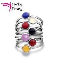 7 Chakra Stack Rings Solid 925 Sterling Silver Jewelry Urban...