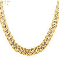 Nueva Cadena de oro de dos tonos para hombres Joyería con sello Moderno 18K chapado en oro real 9 mm 5 tamaño bordillo hombres collares regalo N552