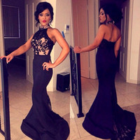 Hot 2020 Sexy Prom Dresses Halter Sleeveless Mermaid Lace Bl...