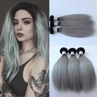 Nueva Llegada brasileña 3 unids / lote ombre gris plata pelo que teje 1b / gris dos tonos brasileños extensiones de cabello humano paquetes de pelo