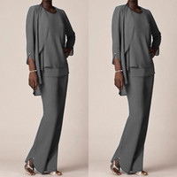 853147fa03c Grey Chiffon Formal Pant Suits For Mother Groom Dresses 2017 Evening Wear  Long Mother of the Bride Dresses With Jackets Plus Size Custom