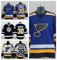 St. Louis Blues 30 Martin Brodeur Jerseys Hóquei No Gelo Esportes Da Marinha Da Equipe Azul Cor Branco Alternar Tudo Costurado Melhor Qualidade