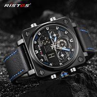 Хронограф мужчины многофункциональный спортивные часы армия военная кожа цифровой аналоговый мода наручные часы квадратный циферблат подсветка кварцевые часы