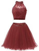 2017 Sexy Mini Short Homecoming Dress Two Piece Beaded Appliques Lace Graduation Cocktail Prom Party Gown QC117