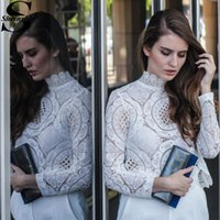 x201711 Sheinside White Lace Blouse Long Sleeve Hollow Out W...