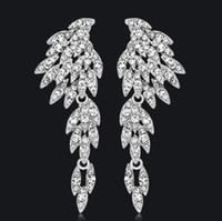 Pendientes largos de cristal de diamantes de imitación para mujer Pendientes de boda nupcial de color plata águila Aceesorios de joyería de moda