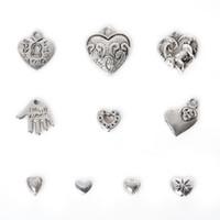 Freies verschiffen Neue 2016 Neue 155 stücke Zink-legierung Herz Anhänger Charme Gemischt Antikes Silber Überzogene Charme Metallschmuck Erkenntnisse für DIY Machen
