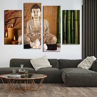 4 PCS eligion Bouddha Toile Peintures Pour Salon Mur Cuadros Lienzos Decorativos photos décoratives Sans Cadre F1855