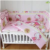 a6c3971d4f2d0 6PCS Hello Kitty Literie Ensembles nouveau-né 100% coton Kit de literie  pour bébé Kit berceau Set