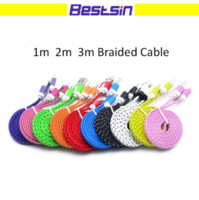 1m 2m 3m Braided Fabric Flat noodle type c usb data charger ...